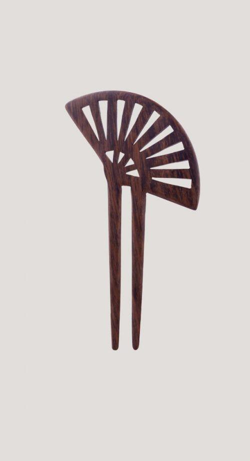 peineta para el pelo de madera y abanico japonés